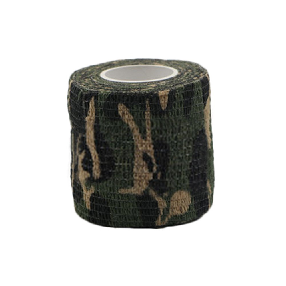 Self-adhesive Elastic Bandage Wrap Compression Roll, Multi-purpose Camouflage Bandage for Medical Care and Waterproof Protection Purpose, Support for Wrist, Ankle, Knee, Foot, Finger (Dark Green)