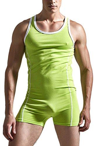 [Sandbank Men's Sexy One Piece Tank Top w/ Shorts Underwear Bodysuit Sleepwear Set (US M, Green)] (Green Man Body Suit)