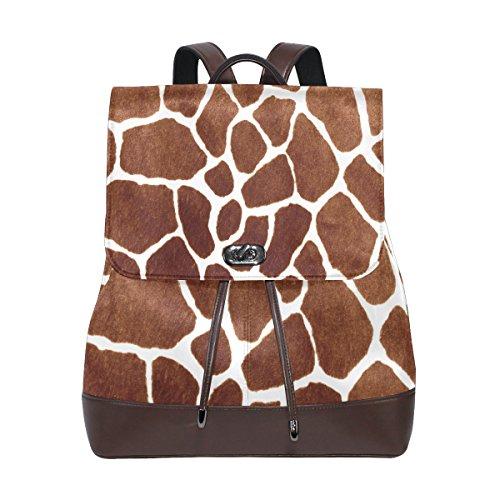 (KUWT Brown Leopard Skin Print PU Leather Backpack Photo Custom Shoulder Bag School College Book Bag Rucksack Casual Daypacks Diaper Bag for Women and Girl)