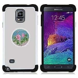 """Pulsar ( Pétalo Ronda Minimalista Gris"""" ) Samsung Galaxy Note 4 IV / SM-N910 SM-N910 híbrida Heavy Duty Impact pesado deber de protección a los choques caso Carcasa de parachoques [Ne"""