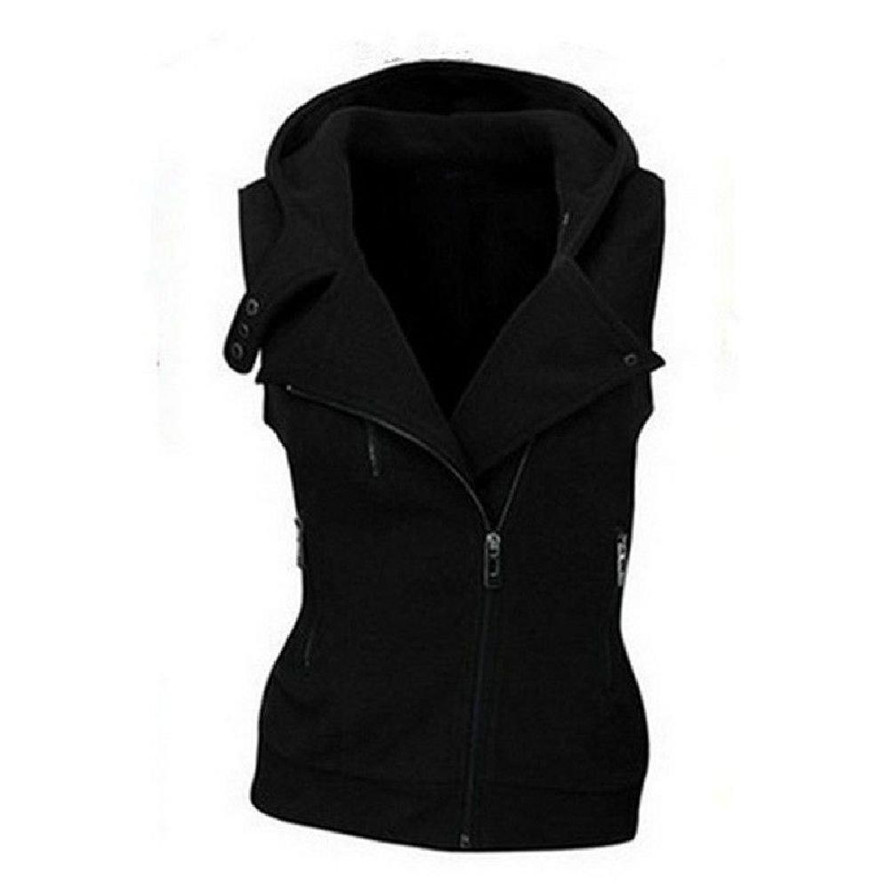 Jewelryfinds Women Slim Warm Fleece Vest Sleeveless Motorcycle Lapel Jacket Hooded Waistcoat