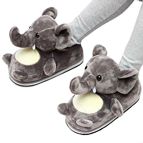 Donne di Animale dell'interno Adattano Scarpe Forma gray Caldi Peluche Pantofole Le della della Animali baiou Inverno Le Cosplay Le elephants Sveglia di casa 3D per axOqwBA84Y