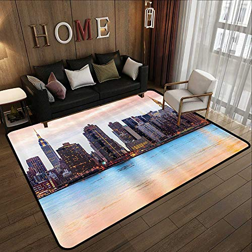 Modern Abstract Area Rug,New York,Manhattan Skyline Midtown View from The Lake USA American City Artsy Picture,Peach Blue Mauve 78.7'x 94' Anti-Slip Toilet Doormat Home Decor