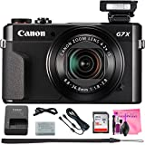 Canon PowerShot G7 X Mark II Digital Camera w/1 Inch Sensor and tilt LCD screen – Wi-Fi & NFC Enabled (Black) + Camera Works Digital Camera Cleaning Solution & High-Speed Memory Card (16GB)