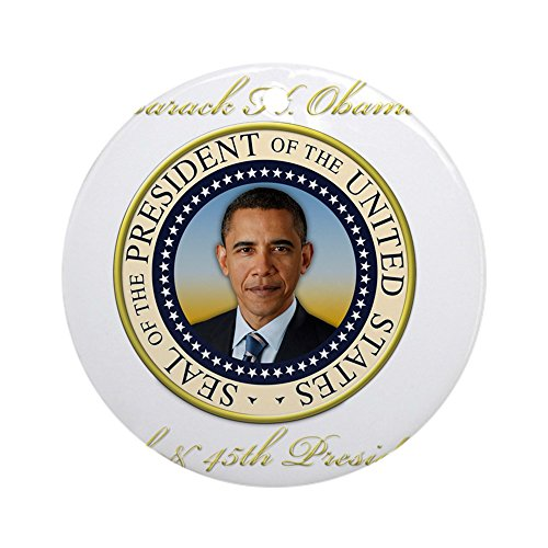 CafePress - Keepsake President Obama Re-Electio - Round Holiday Christmas Ornament (Christmas Presidential Tree)