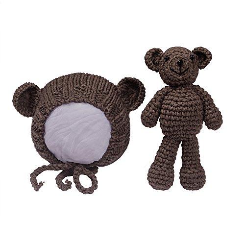EUDORA Crochet Newborn Photography Boys/Girls Knit Toy Bear Hats, Infant Baby Photo Prop Costume Chocolate by EUDORA