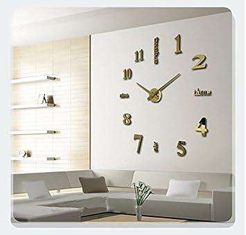 HUANGYAHUI Reloj de pared 20 Pulgadas Pared Sobredimensionados Pegatina Decorativa Bricolaje Casa Reloj Reloj Digital De Pared Reloj De Pared, ...