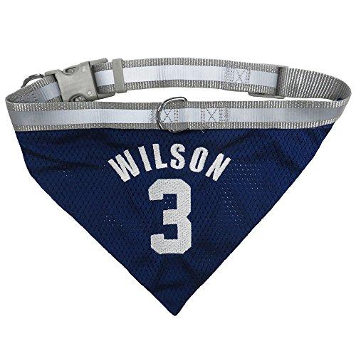NFLPA Dog Bandana - Russell Wilson #3 Pet Bandana - NFL Seattle Seahawks Adjustable & Reflective Bandanna, Large (Seahawk Dog Bandana)