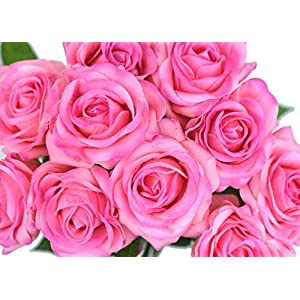 FiveSeasonStuff 10 Stems of Real Touch Silk Roses 'Petals Feel and Look like Fresh Roses' Artificial Flower Bouquet for Wedding Bridal Office Party Home Decor 14