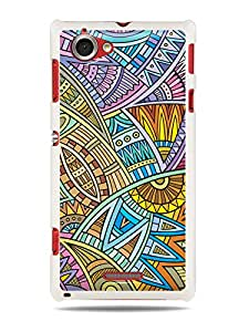 "GRÜV Premium Case - ""Abstract Ethnic Tribal Digital Art"" Design - Best Quality Designer Print on White Hard Cover - for Sony Xperia L S36H C2104 C2105"
