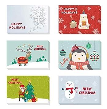 Merry Christmas Cards Supernight Multipack Saluti Pieghevoli con Buste e Adesivi DIY Xmas Cards for Friends Famiglia Him Her Adults Kids 24Pack (6 * 4)