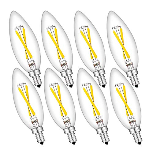 WUHOSTAM 2W Dimmable LED Candelabra Bulb, 4000K Neutral White, 200 Lumens, 25W Incandescent Equivalent, Filament E12 Candelabra Base, Clear Glass B10 Torpedo Shape Bullet Top, 8 Pack