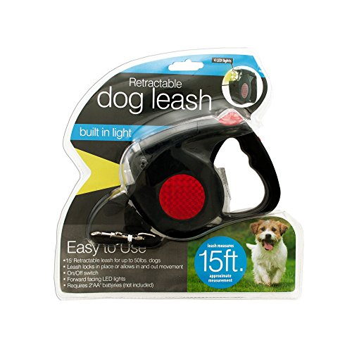 Kole Imports Retractable Dog Leash with LED Light, -