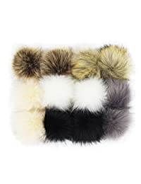 DIY 12pcs Faux Fox Fur Fluffy Pompom Ball for Knitting Hat Hats (Popular Mix Colors)
