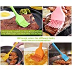 Silicone Basting Pastry Brush Spread Oil Butter Sauce Marinades for BBQ Grill Baking Kitchen Cooking, Baste Pastries Cakes Meat Sausages Desserts, FDA Approved, Dishwasher safe 12 [PREMIUM SILICONE AND HIGH TEMPERATURE RESISTANT] The basting brush is made of high-quality food grade silicone which is FDA approved and BPA free. You could apply silicone basting brushes without any concerns. The pastry brush resists temperature up to 446℉/230℃. So you can baste food even when grilling and the basting brushes won't melt or shrink. Our basting brush has a handle built with solid internal steel core that increase its durability. [ONE-PIECE AND ERGONOMIC DESIGN] The basting brush is very secure, owing to seamless design. Unlike other bristle brushes, the silicone bristles will not break or shed in your food. The special design avoids the baste brush head falling off or getting loosen when spreading. No bacteria will be stuck in the silicone basting brush. No stains would occur. The handle provides comfortable firm grip making basting easy. Our pastry brushes stand out from cheap silicone brushes on the market. [PERFECT FOR BASTING AND PASTING] With 85 bristles (5raw x 17 bristles/raw) on the big brush, 52 bristles (4raw x 13 bristles/raw) on the 3 smaller ones, the silicon basting brushes are able to hold good amount of liquids. High tensile strength makes the pasting brushes baste and spread liquids evenly. The soft and flexible silicone bristles are suitable for delicately pasting rolls/cakes without dragging the dough or scratching the pan. Works great on meats, pastries, cakes, desserts and more!