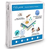 HollyHOME Hypoallergenic Cotton Terry Bed Cover 100% Waterproof Mattress Protector Twin XL Size with Deep Pocket Fitted Mattress up 8''-18''