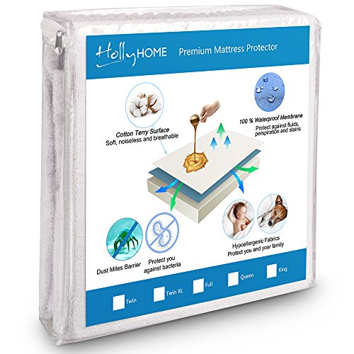 """HollyHOME Hypoallergenic Cotton Terry Bed Cover 100% Waterproof Mattress Protector Twin XL Size with Deep Pocket Fitted Mattress up 8""""-18"""""""