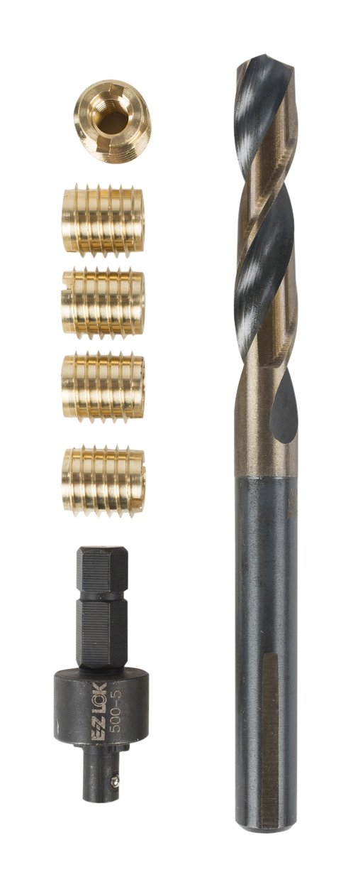 E-Z LOK 400-M4 Threaded Inserts for Wood, Installation Kit, Brass, Includes M4-0.7 Knife Thread Inserts (10), Drill, Installation Tool
