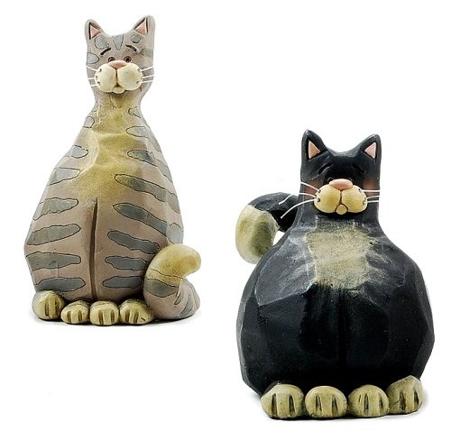 Blossom Bucket Primitive Tuxedo CAT & Grey Tabby Cat Folk Art Set of Two Resin Figurines