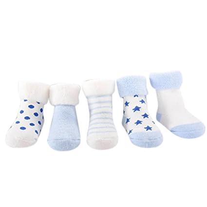 Amlaiworld 4 Pares Calcetines de bebé recién Nacidos niñas niños Zapatos de bebé Zapatillas de Dibujos Animados Calcetines Antideslizantes para ...