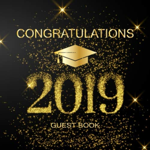 Congratulations Guest Book: Light of Gold Glitter | Graduation Guest Book | Sign in Party | Message Memory Book (Graduate Autograph Book)