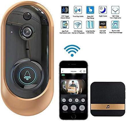 ワイヤレスビデオドアベルカメラ、スマートワイヤレスWifiビデオドアベル、720P HDドアベルカメラWi-fi、防水探知機、モーション検出機能付き、双方向通話,金
