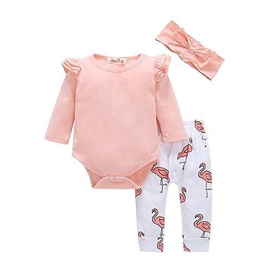 Bébé Nouveau-né vêtements mis à Manches Longues Rose Barboteuse et Flamant  imprimé Pantalon et cb8d8dbc57d