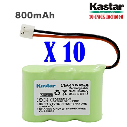 Kastar 10-PACK 2/3AA 3.6V 800mAh EH Ni-MH Rechargeable Battery for AT&T 2422 80-5074-00-00 Lucent 2422 Vtech ia5870 ia5882 Sanik 3SN-2/3AA30-S-J1 Cordless Phone (Check your Cordless Phone Model down) by Kastar