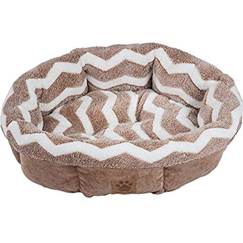 Cheap Petmate SnooZZy Zig Zag Shearling Round Pet Bed Comfort and Support Gray/White and Tan/White One Size