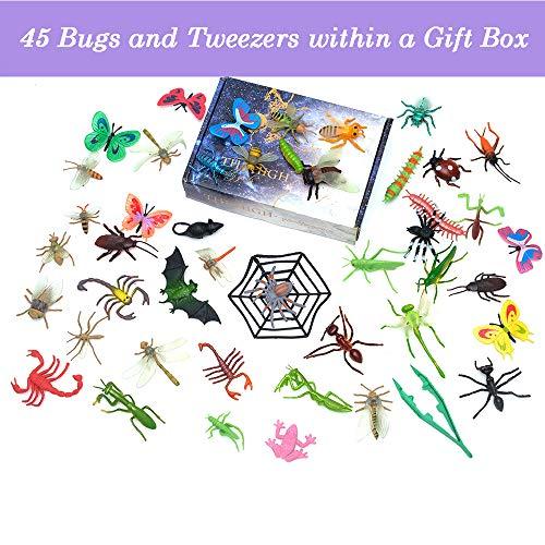 FansArriche 45 Pcs Toy Bugs Figures for Kids, 2-6