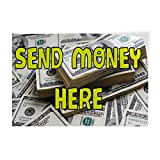 Decal Sticker Multiple Sizes Send Money Here Business Send Money Outdoor Store Sign White - 48inx32in, Set of 10