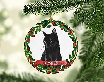 cat ornament pet gift cat christmas ornament black cat ornament black cat christmas ornament cat lover - Black Cat Christmas Ornament