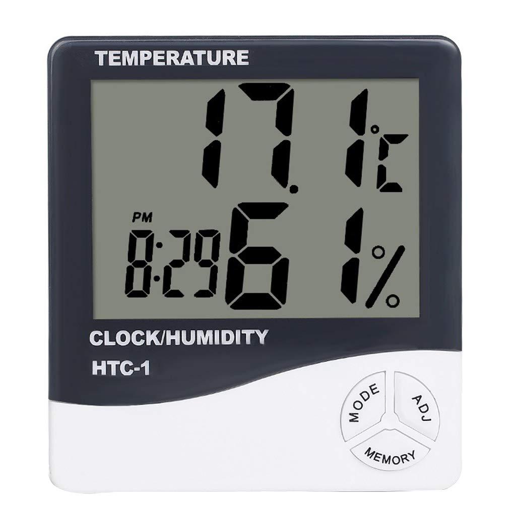 Mini thermomètre numérique hygromètre température ambiante Alarme LCD intérieur Horloge hygromètre