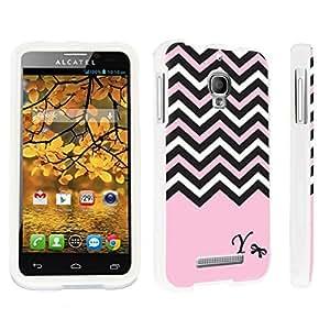 linJUN FENGDuroCase ? Alcatel One Touch Fierce 7024W Hard Case White - (Black Pink White Chevron Y)