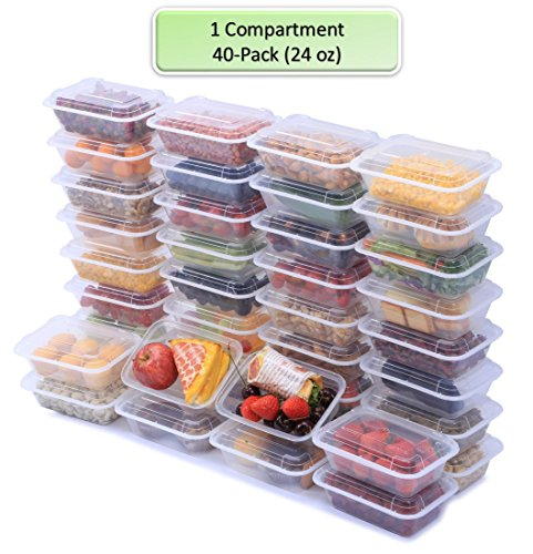 NutriBox [40 Value Pack] single one compartment 24 OZ Meal Prep Plastic Food Storage Containers - BPA Free Reusable Lunch Bento Box with Lids - Spill proof ,Microwave, Dishwasher and Freezer Safe 1 Compartment Container