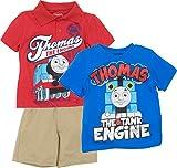 Thomas The Train Toddler Boys' 3pc Polo, T-Shirt & Shorts Set, Red, Blue & Khaki (3T)
