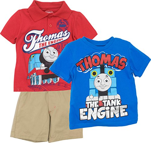 Thomas The Train Toddler Boys' 3pc Polo, T-Shirt & Shorts Set, Red, Blue & Khaki (3T) (Thomas Train Outfit)