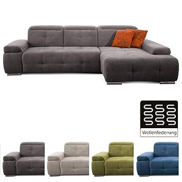 Cavadore Ecksofa Mistrel Mit Longchair Xl Rechts Große Eck Couch Im Modernen Design Inkl Verstellbaren Kopfteilen Wellenunterfederung 273 X