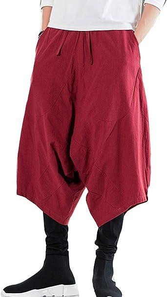 Hombre Pantalón Ancho Algodón y Lino Hippie Boho Pantalones Vino Rojo L: Amazon.es: Ropa y accesorios