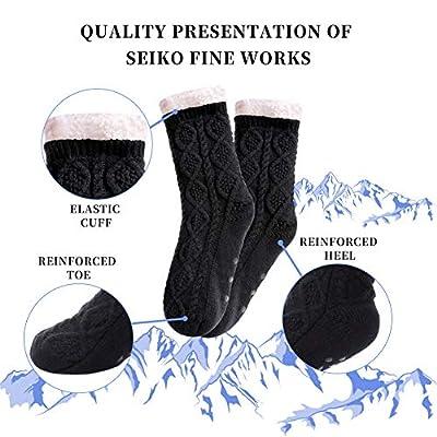 SDBING Women's Super Soft Warm Cozy Fuzzy Fleece lined Twist Non-Slip Winter Christmas gift Slipper Socks (Black) at Women's Clothing store