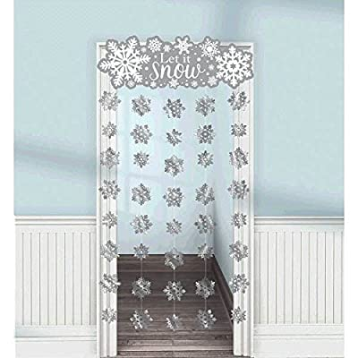 amscan Let it Snow Snowflake Doorway Curtain | Christmas Decoration: Toys & Games