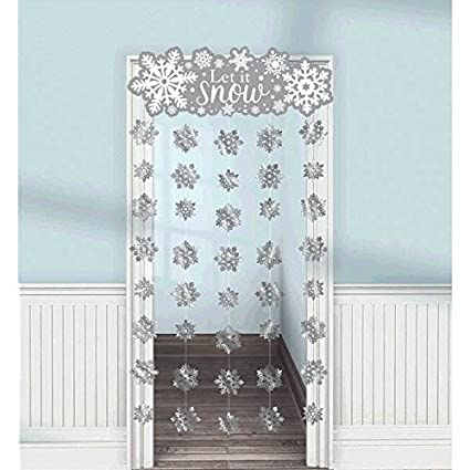 amscan winter wonderland christmas party snowflake doorway curtain decoration silverwhite foil - Foil Christmas Door Decorations