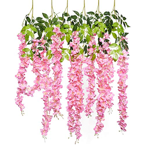 GPARK 6 Pieces Wisteria Artificial Flower 45 inch Bushy Silk Vine Ratta Hanging Garland Hanging for Wedding Party Garden Outdoor Greenery Office Wall Decoration Pink
