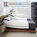 Ananda 12' Pearl and Cool Gel Infused Memory Foam Mattress with Premium Adjustable Bed Frame Combo, Head Tilt, Massage, USB, Zero Gravity,Anti-Snore ... (Split King)