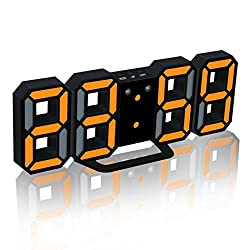 LED Digital Alarm Clock For Desk/Shelf/Tabletop, Modern Home Decoration 3D Wall Clock, Easy To Read at Night, Loud Alarm and Snooze, Big Digit Display (Black)