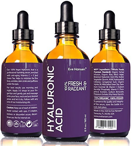 2 oz Hyaluronic Acid - Facelift in a Bottle #2 - 100% Vegan Professional Hydrating Serum - SEE RESULTS OR MONEY-BACK - Big 2 ounce