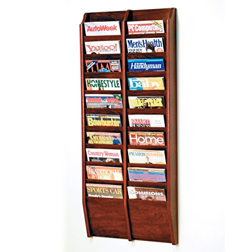 Wooden Mallet 20-Pocket Cascade Magazine Rack, Mahogany by Wooden Mallet