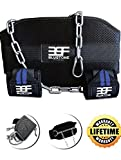 B.S.F Dip Belt With Chain INCLUDES Wrist Wraps - Pro Weight Belt With Chain For Bodybuilding, 30-Inch Chain, 7'' Back Support Made From Double Stitched Polypropolene - Strength Tested Up To 135 pounds