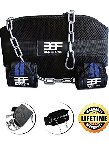 B.S.F Dip Belt With Chain INCLUDES Wrist Wraps - Pro Weight Belt With Chain For Bodybuilding, 30-Inch Chain, 7'' Back Support Made From Double Stitched Polypropolene - Strength Tested Up To 135 pounds by B.S.F