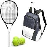 HEAD Graphene 360 Speed Junior Black/White Midplus 16x19 Tennis Racquet Starter Kit or Set Bundled with a Djokovic Tennis Backpack and (1) Can of 3 Tennis Balls